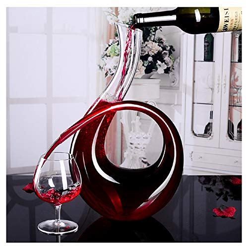 AIWKR Unique 6-Shaped Shape Wine Decanter And Aerator With A Wide Base For Vivid Aerating, Elegant Crystal Carafe, Wine Accessories, Wine Gifts(1500ml)