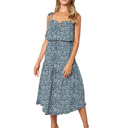 Sunhusing Summer Women's Polka Dot/Leopard Print Sexy Sleeveless Sling Backless Irregular Hem Chiffon Dress Blue Baker Polka Dots Tie