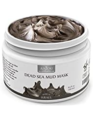 Anjou Dead Sea Mud Mask, Made in Israel, Deep Pore Cleansing and Detoxifying for Face and Body, 100 Natural Mineral-Rich Mask, 8 oz/250 ml