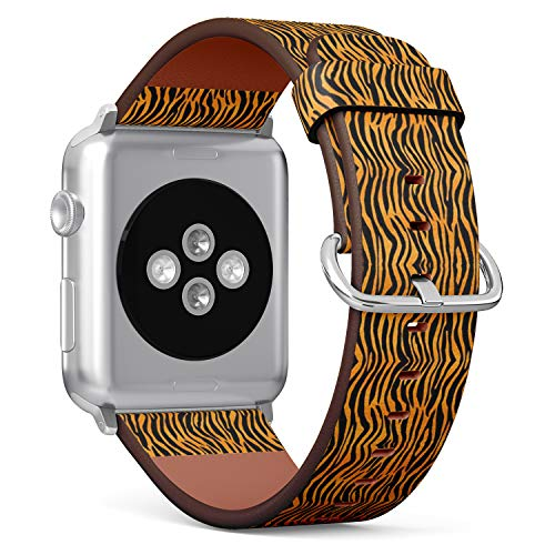 (Compatible with Apple Watch (Small Version) 38 / 40mm Leather Wristband Bracelet with Stainless Steel Clasp and Adapters -Tiger Print Stripes Skin)