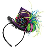 "Amscan Bright & Trendy Birthday Party Top Hat Fashion Headband (1 Piece), 8"" X 7"", Multicolor"
