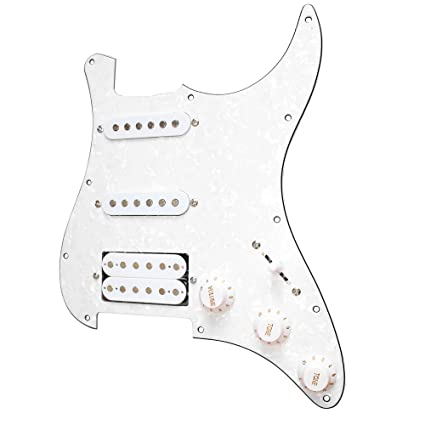 ammoon 3-ply SSH Loaded Prewired Humbucker Pickguard Pickups Set for Fender  Strat ST Electric Guitar Black Pearl