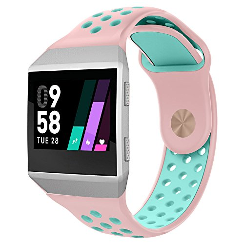 UMTELE Compatible for Fitbit Ionic Band, Two-Toned Perforated Strap Breathable Accessory Wristband with Quick Lock&Release Buckle Replacement for Fitbit Ionic Smart Watch, Small, Pink/Teal