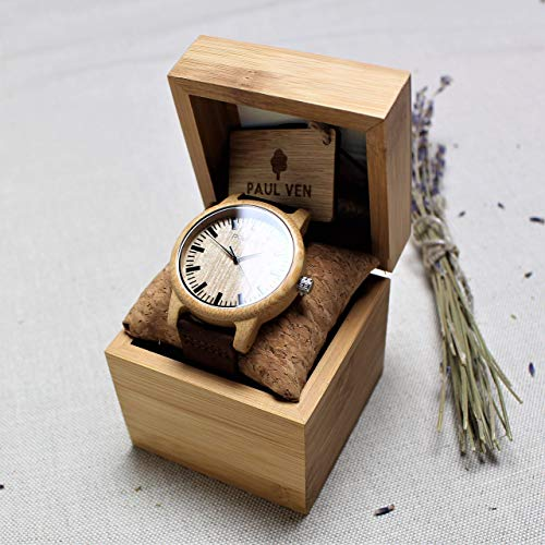 Engraved Wood Watch Paul Ven Liberty Original, with leather strap and wooden or cardboard watch box