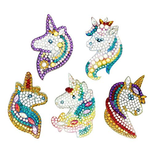 (DIY Diamond Painting Keychains, Special Shaped Horse Diamond Painting Ornaments Pendants, Small Diamond Art for Kids and Adult Beginners (5pcs))