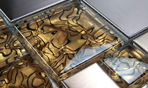 Glasmosaik Edelstahl Mosaik Fliesen Mosaikfliesen Glasfliesen Glas Braun 30x30