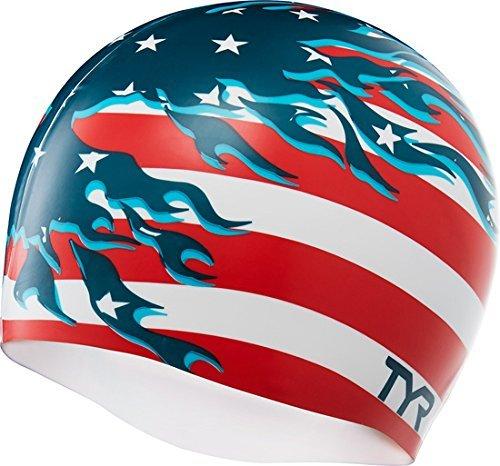 TYR Blazing Patriot Swim Cap, Red/White/Blue, One Size