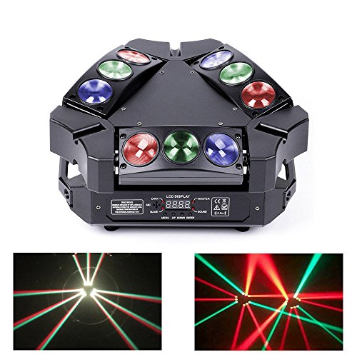 JUDYelc Professional LED 9 Head Bird Spider Lights New Bar Wedding DMX Moving Head Light Bar KTV DJ Disco Stage Beam Lighting by JUDYelc