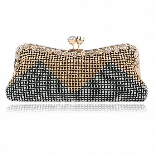 Afibi Women Handbags Rhinestone Evening Bags Crystal Party Clutches Bag (Grey)