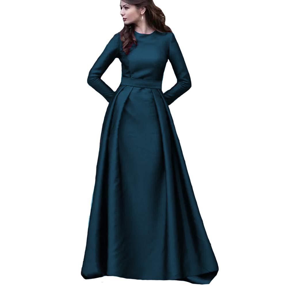 Navy bluee KaBuNi Women's Long Sleeve A line Wedding Dresses Formal Prom Dresses