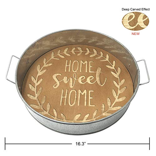 Ouchan Galvanized & Rustic Wood Metal Serving Trays,RoundBreakfast Trays With Decorative Handles (Home Sweet Home)