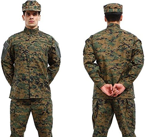 (Camouflage Military Battle Uniform Set Camo Paintball Hunting Clothing Coat + Pant)