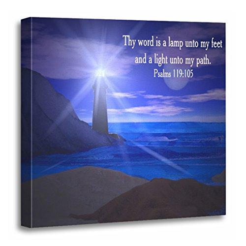 TORASS Canvas Wall Art Print Inspirational Lamp Unto My Lighthouse Scripture Bible Verse Artwork for Home Decor 20