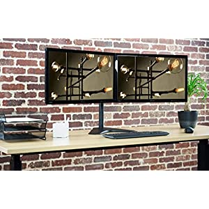 """VIVO Full Motion Dual Monitor Free-Standing Desk Stand VESA Mount with Articulating Double Center Arm Joint   Holds Two 13"""" to 30"""" Screens (STAND-V102F)"""