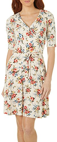 Gilli Womens Floral Print Faux Wrap Dress Small Ivory White/Multi