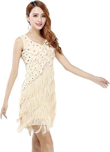 YiJee Femme Soir/ée Robes Glands Robes de Danse Latine Rumba Salsa Samba Tango