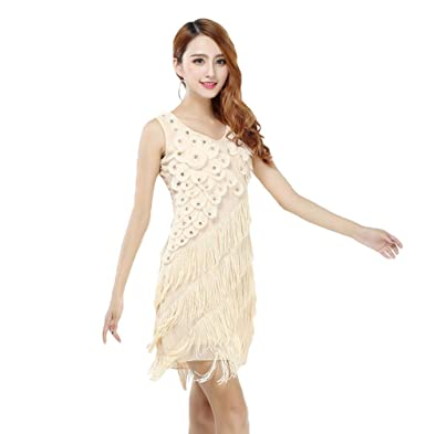 YiJee Damen Ballroom Latein Tanzenkleid Tiered Quaste Party Kleid ...