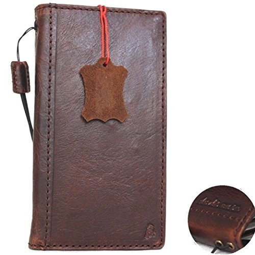 Genuine real Leather Case for apple Iphone 8 Plus Book Wallet thin cover Handmade Retro Luxury cards slots slim brown (Apple Iphone Genuine Leather)
