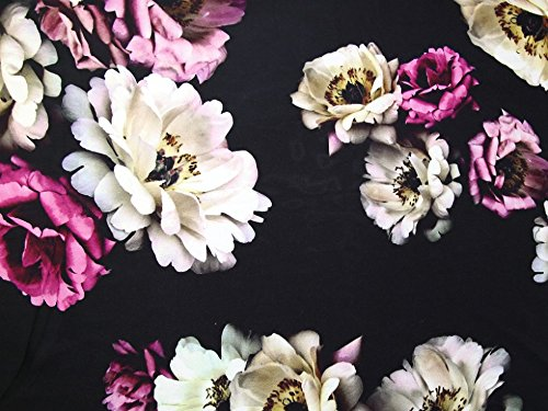 John Kaldor Floral Print Slinky Satin Dress Fabric Magenta & Black - per - Slinky Magenta