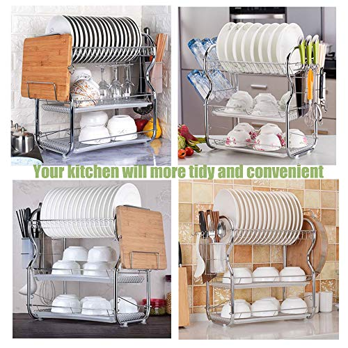 Dish Drying Rack Stainless Steel 3 Tier Dish Rack With Utensil