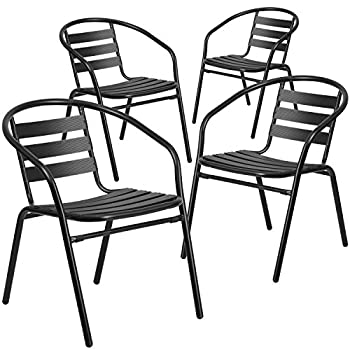Flash Furniture 4 Pk. Black Metal Restaurant Stack Chair with Aluminum Slats