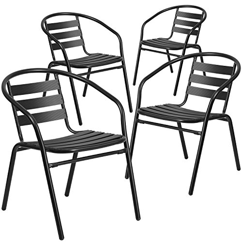 Flash Furniture 4 Pk. Black Metal Restaurant Stack Chair with Aluminum Slats (Outdoor Table Chairs)