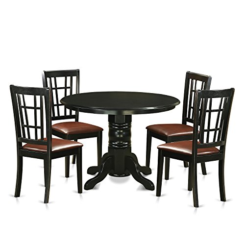 East West Furniture SHNI5-BLK-LC 5 Piece Dining Table and 4 Small Kitchen Chairs, Black Finish