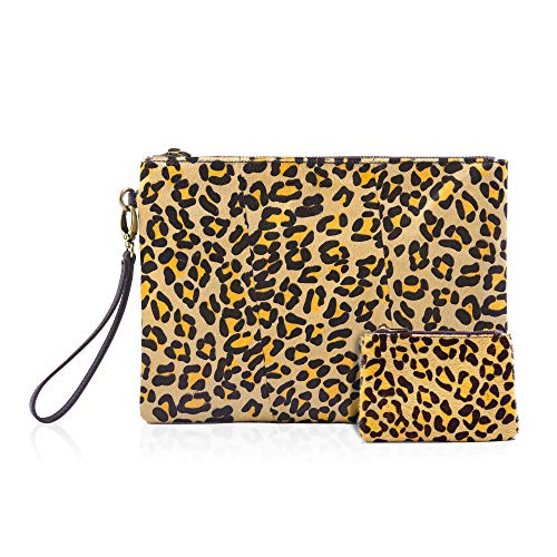 (Leopard Clutch with Coin leopard Purse for women wristlet Wallet Genuine Leather Haircalf Ladies Evening Envelope bag (Leopard-B) )