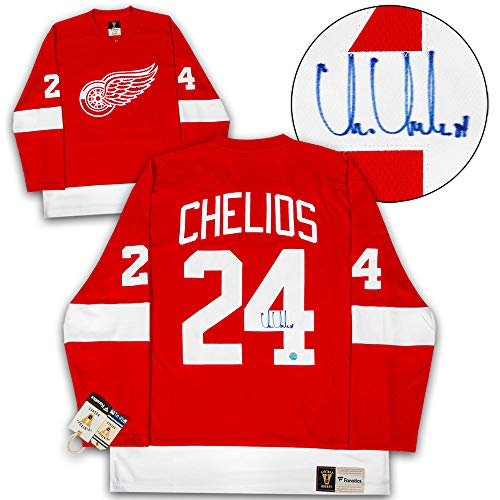 (Chris Chelios Detroit Red Wings Autographed Signed Fanatics Vintage Hockey Jersey - Certified Authentic)