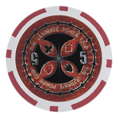 Cardinals Red Laser - Brybelly Laser Inlay Poker Chips Heavyweight 14-gram Clay Composite - Pack of 50 ($5 Red)