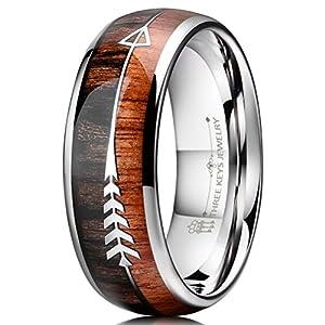 Three Keys Jewelry 8mm Tungsten Wedding Ring Koa Wood Zebra Wood Arrows Inlay Vikings Hunting Ring Band