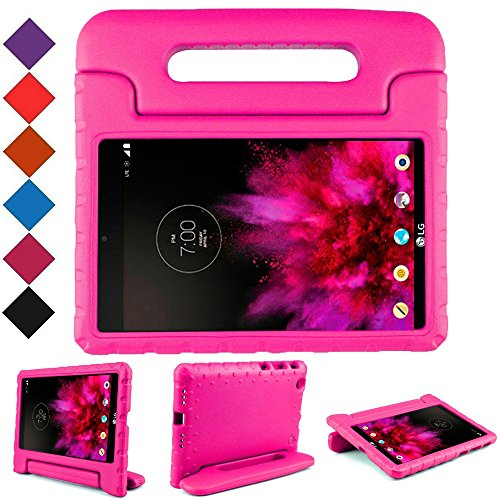 BMOUO Kids Case for LG G Pad X 8.0 - Carry Handle Child Stand Holder EVA Foam Shock Proof Case Cover for LG G Pad X 8.0 Inch V-520/V-521 Tablet (Rose)