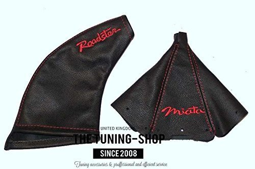 The Tuning-Shop Ltd For Mazda Mx-5 Mk1 NA 1989-97 Shift & E Brake Boot Black Leather Red Miata & Roadster Edition Embroidery