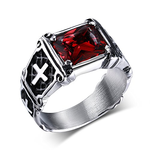 UOKOHO Men's Vintage AAA Ruby Red Stone Titanium and Stainless Steel Cross Ring Size 13