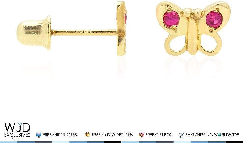 Pendientes de oro amarillo macizo de 14 quilates con diseño de mariposa y rubí para bebé