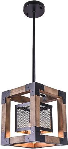 OYIPRO Vintage Industrial Pendant Light, 1 Light Retro Kitchen Island Light Fixture Rectangular Wood Frame Metal Cage Hanging Chandeliers Ceiling Light Luminaire