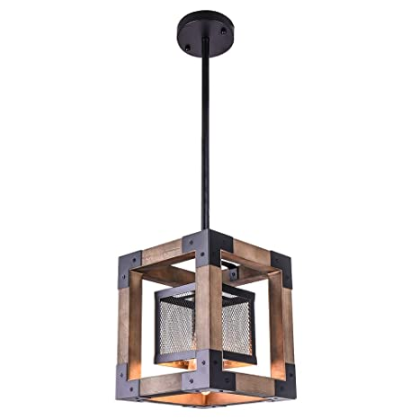 OYI Vintage Industrial Pendant Light, 1 Light Retro Kitchen Island Light  Fixture Rectangular Wood Frame Metal Cage Hanging Chandeliers Ceiling Light  ...