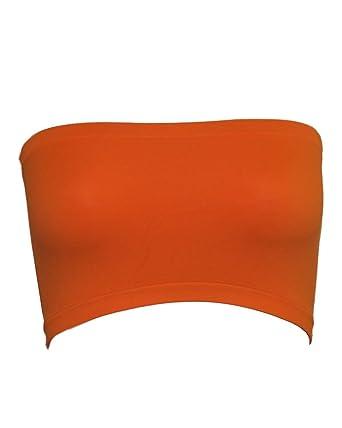 80fa2f3e0a Seamless Bandeau Strapless Tube Top Bra Neon Orange  Amazon.co.uk  Clothing