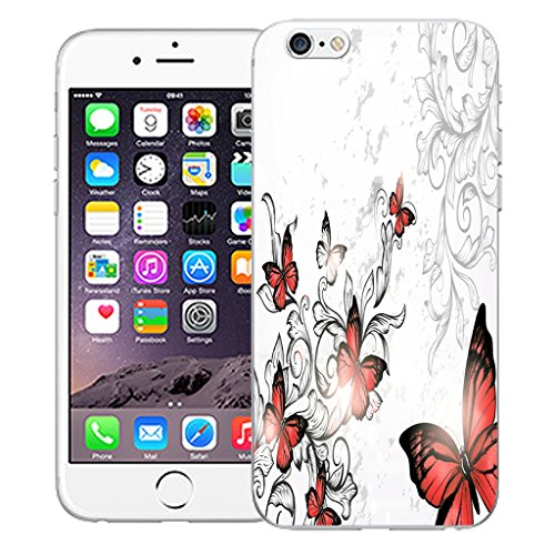 "Mobile Case Mate iPhone 6 Plus 5.5"" Silicone Coque couverture case cover Pare-chocs + STYLET - Red Winged Butterfly pattern (SILICON)"