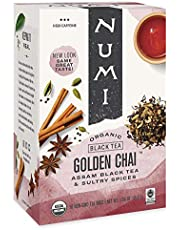 Numi Organic Tea Golden Chai, 18 Count Box of Tea Bags, Black Tea (Packaging May Vary)