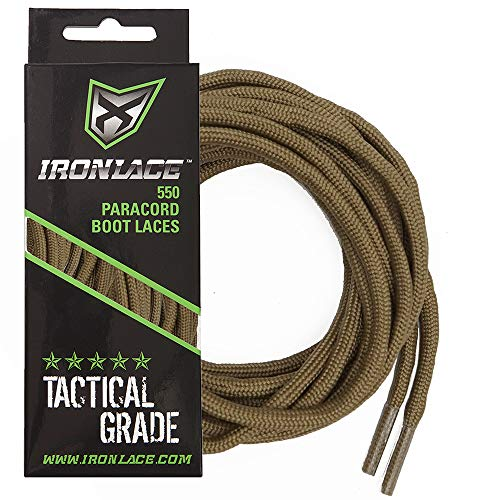 Ironlace Paracord 550 Shoe Laces for Sneakers, Running, Hikers and Boots, Coyote Brown, 72