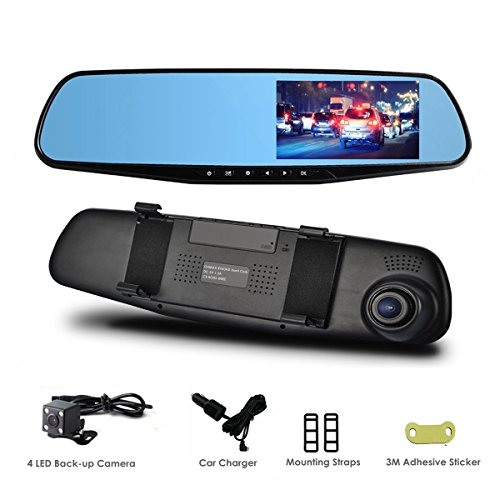 HD Rear View Mirror Cam - As Seen On TV with optional Back Up Camera, 43 Inch Screen with Enhanced HD1080P Picture Quality