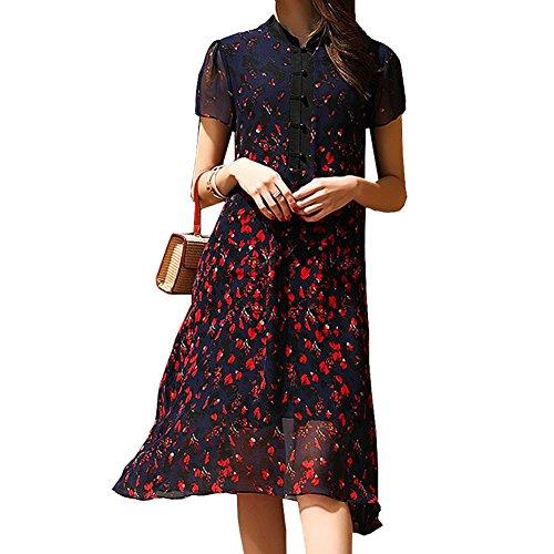 Kleider Abendkleid Seide Long Übergröße E Kleid Gestreift Blau girl Cocktail S9968 Damen Knee PwvT16
