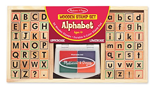 Melissa & Doug Wooden Alphabet Stamp Set - 56 Stamps With Lower-Case and Capital Letters (Letter Capital)