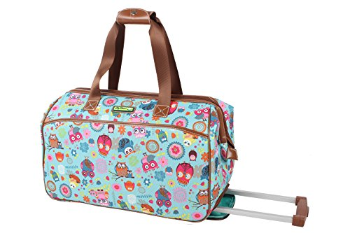 Lily Bloom Luggage Designer Pattern Suitcase Wheeled Duffel Carry On Bag (14in, Owls Always Love You) by Lily Bloom (Image #3)