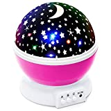 Lizber Baby Night Lighting Lamp Moon Star Projector 360 Degree Rotation - 4 LED Bulbs 9 Light Color Changing With USB Cable, Unique Gifts for Men Women Kids Best Baby Gifts Ever, Christmas gift, Pink