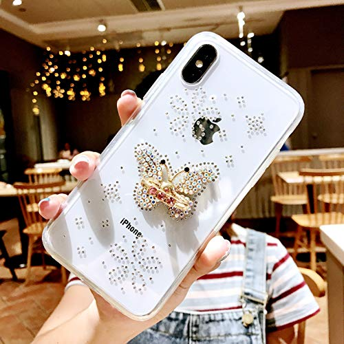 iPhone Xs Max Case, DMaos Embed Diamond with Holding Ring Soft TPU Crystal Clear Slim Cover Kickstand Anti Slip, Premium for iPhone 10s Max/iPhone Xs Max 2018 6.5 (Butterfly)