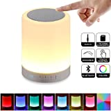 BANGLUX NO NO Night Light Bluetooth Portable Wireless Touch Control Color LED Speaker Bedside Outdoor Table Lamp, TF Card/AUX-in Supported, White
