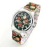 Transparent Retro Flora Green Fashion Wristwatch For Women Men Students Kids Girls