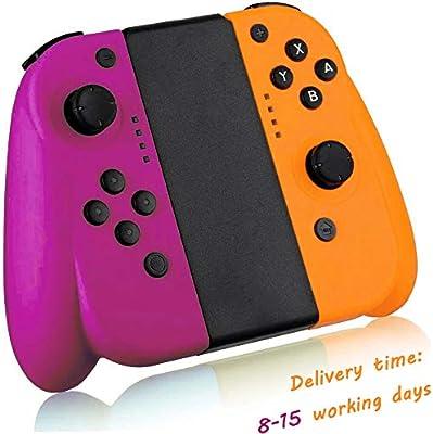 Seeksung Mando Joy con para Nintendo Switch, Gamepad Inalámbrico Bluetooth (L/R) con Giroscopio Incorporado, Controlador De Repuesto con Joystick Ergonómico Joy con,Neon Purple & Neon Yellow: Amazon.es: Hogar